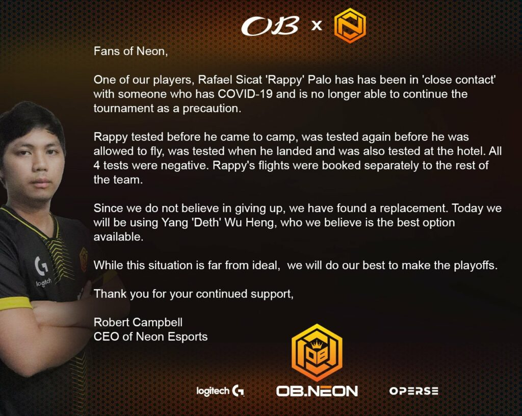 OB Esports x Neon statement about ONE Esports Singapore Major player replacement