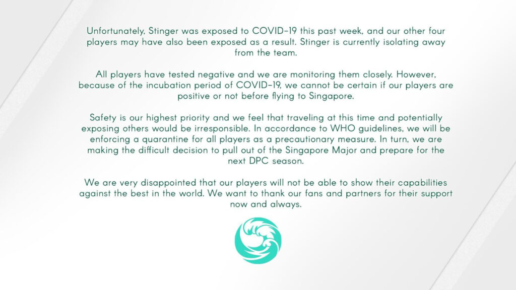 beastcoast withdraws from the ONE Esports Singapore Major