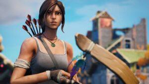 Screenshot of Lara Croft in Fortnite Season 6 trailer