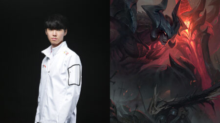 Chovy next to League of Legends Champion Aatrox