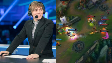 LS and screenshot of 100T and Cloud9 LCS Spring 2021 playoffs match