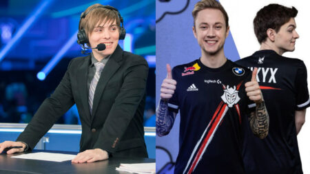 T1 content creator and analyst LS, G2 Esports Rekkles and Mikyx