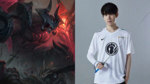 League of Legends champion Aatrox and IG top laner, TheShy