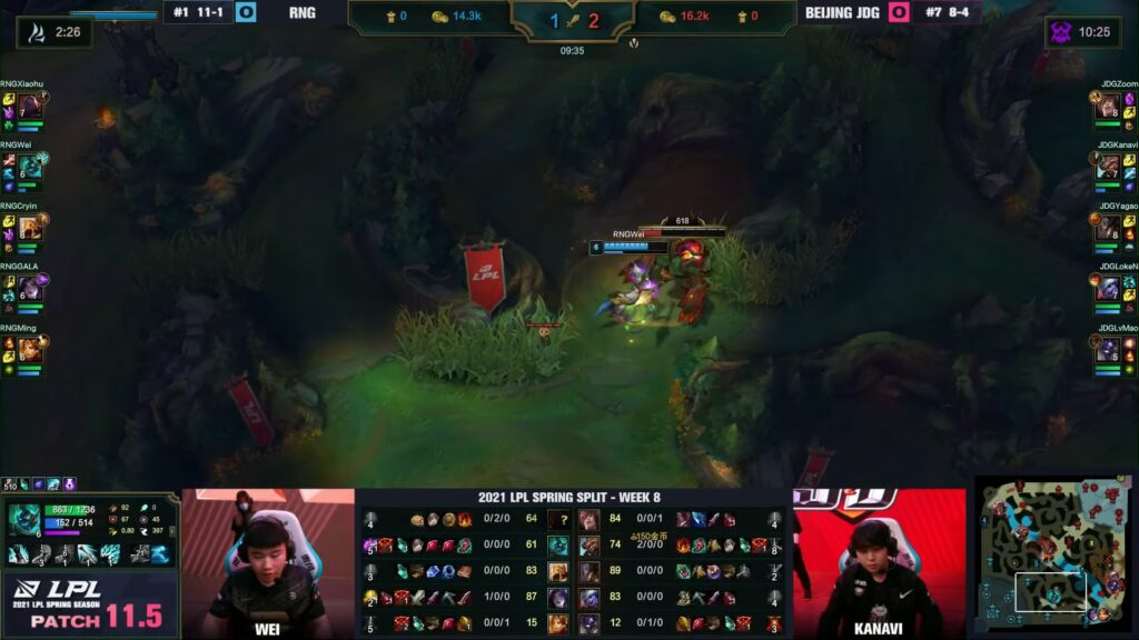 RNG Wei's Hecarim doing red buff, spotted out by JDG's Control Ward