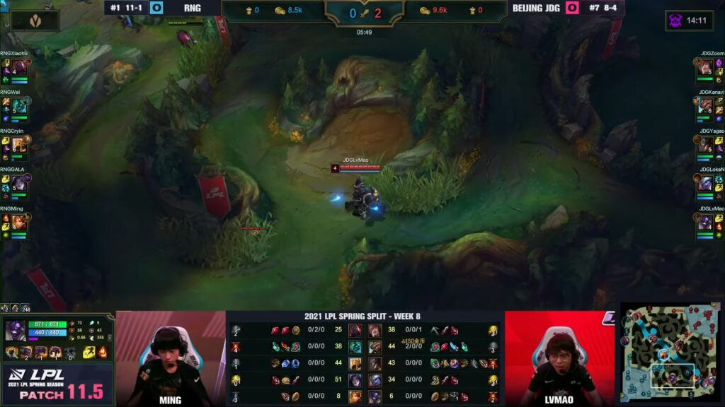 JD Gaming LvMao's Alistar placing a Control Ward in Royal Never Give Up's jungle