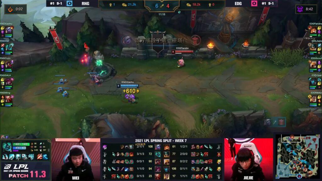 Xiaohu playing Tristana top against Edward Gaming