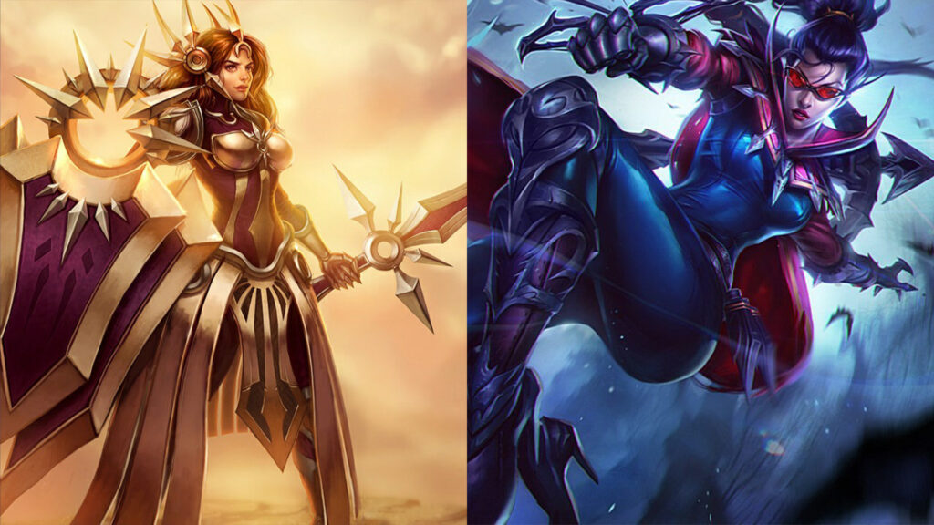 Side by side of Leona and Vayne from League of Legends