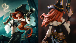 League of legends champion miss fortune and miss fortune unlocked statue