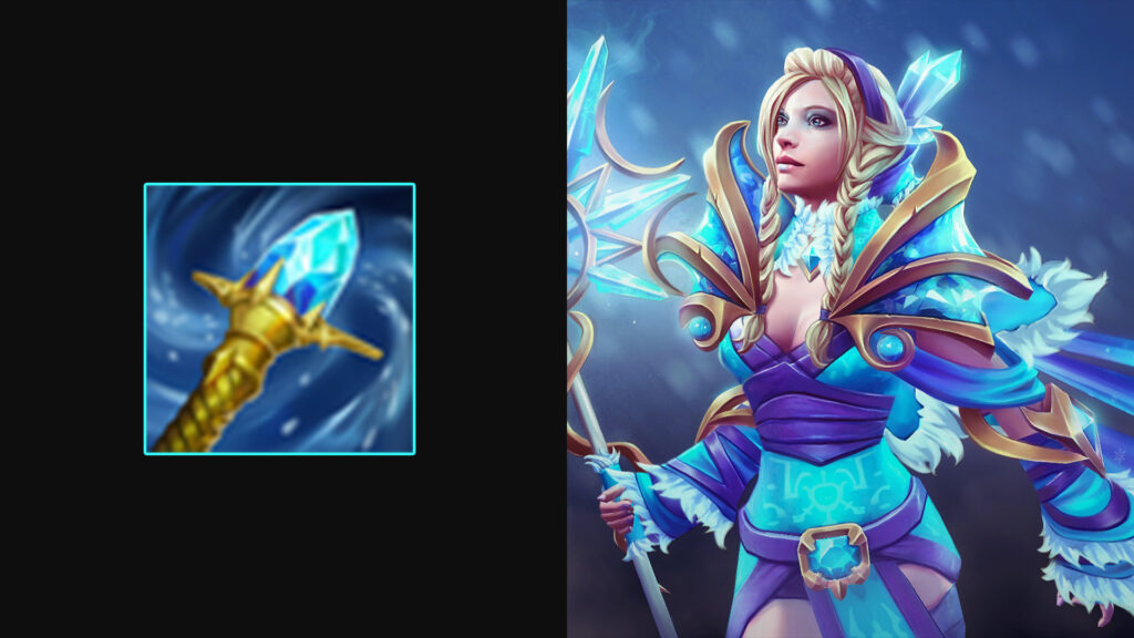 Side by side of Rylai's Crystal Scepter and Crystal Maiden