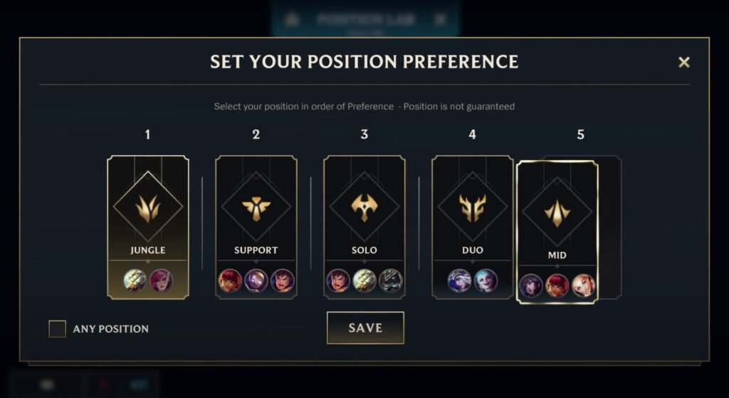 League of Legends: Wild Rift, Position Preference, Patch 2.2