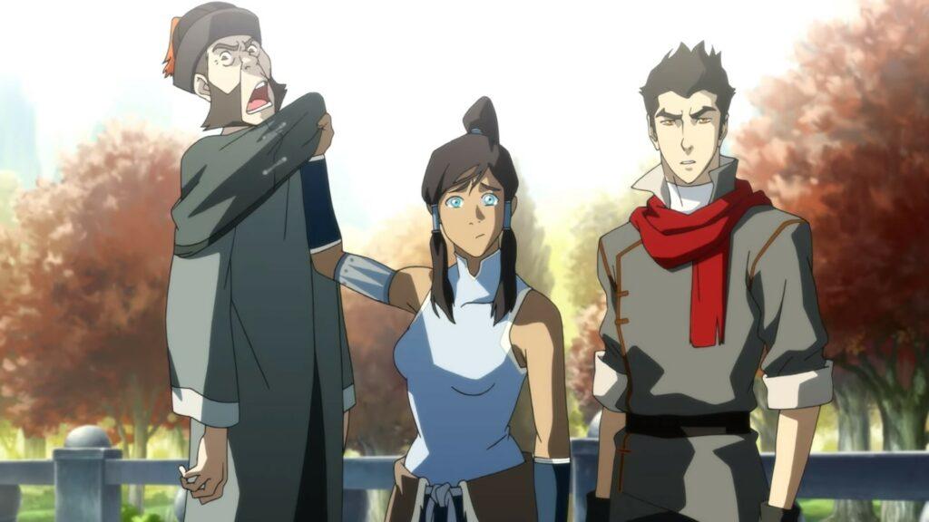 Screenshot of Korra and Mako in Legend of Korra