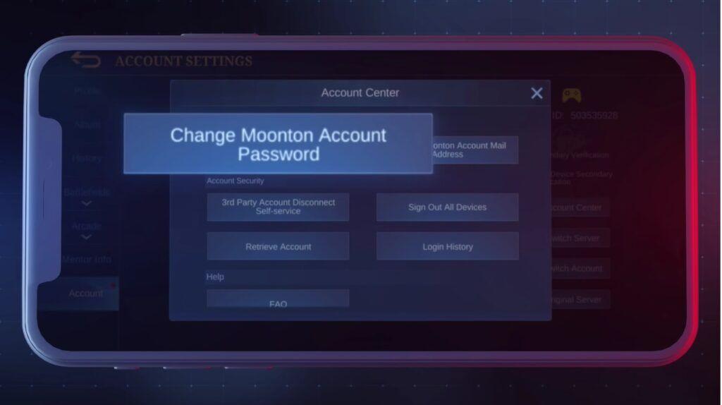 Mobile Legends: Bang Bang, changing passwords