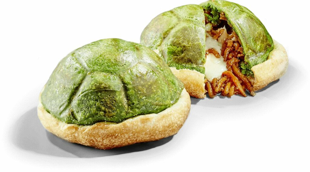 Green Shell Calzone Filled with Yakisoba & Cheese, SUper Nintendo World