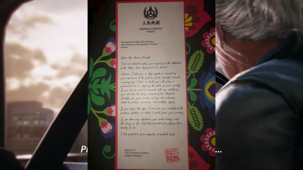 Screenshot of Heihachi's Care Package Letter to Lidia