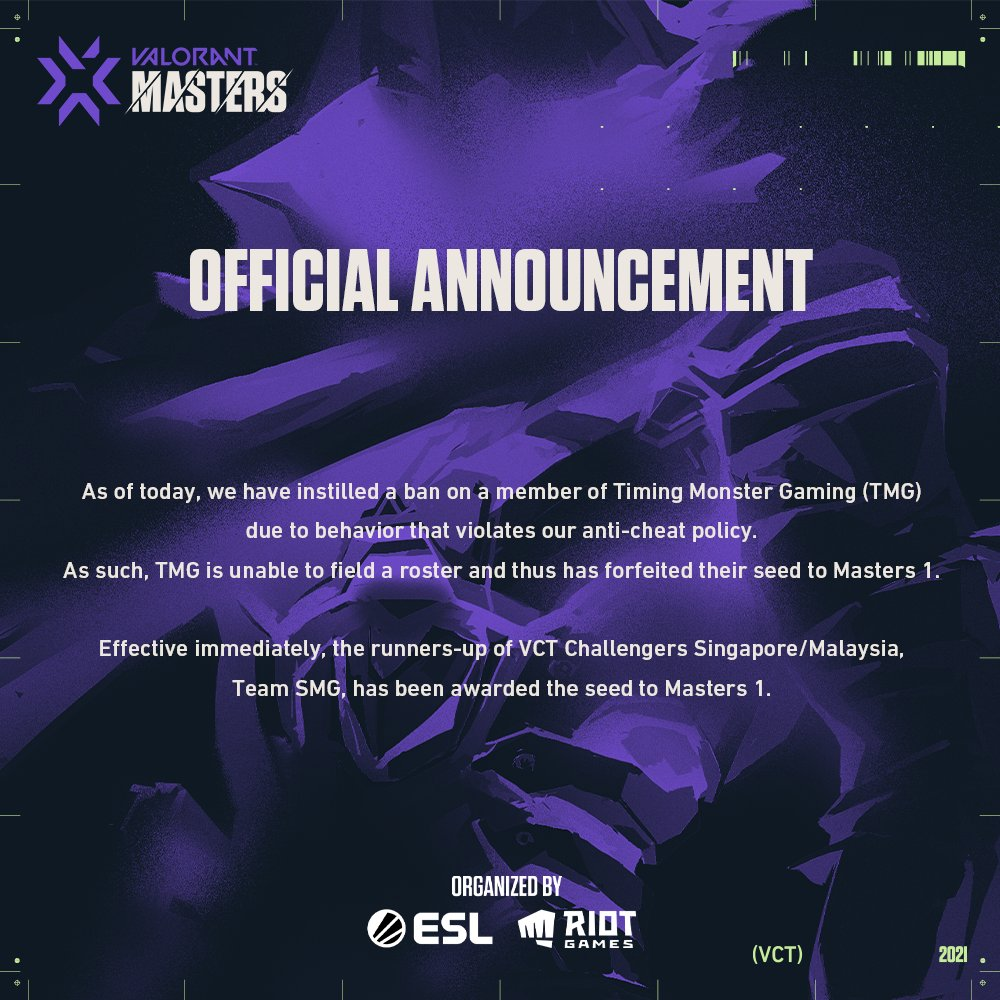 Riot Games official announcement banning TMG, Team SMG to replace them in Valorant Masters 1 SEA