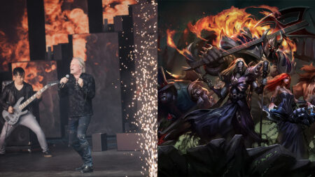 Side by side of Pentakill band and splash art of League of Legends