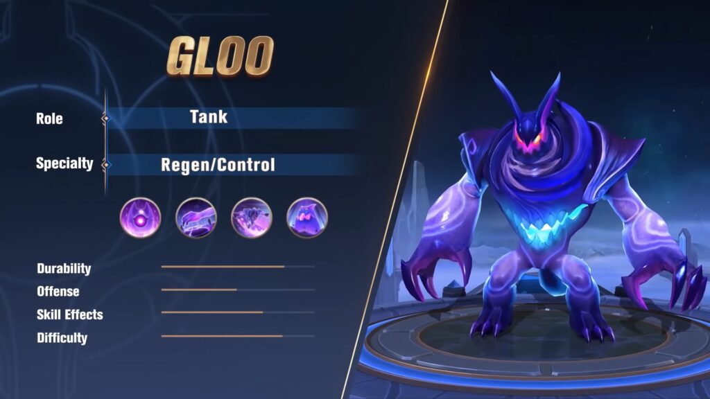 MLBB newest tank hero, Gloo attributes
