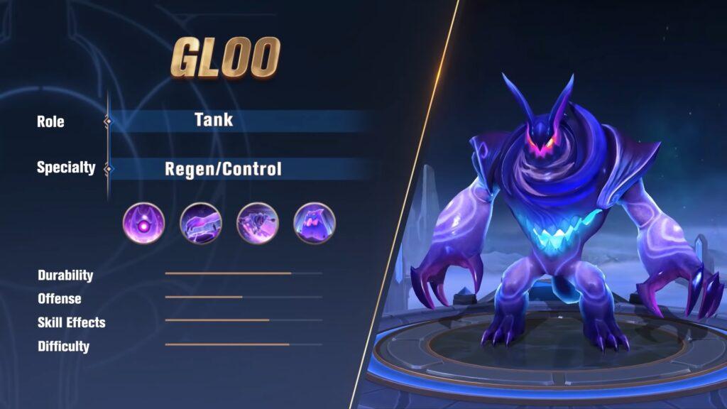 MLBB newest tank hero, Gloo attributes
