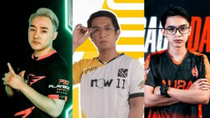 Mobile Legends: Bang Bang MPL PH Season 7 coaches - PlayBook Esports' Coach Panda, Bren Esports' Coach Duckeyyy, and Aura PH's Coach Dale