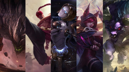 League of Legends: Wild Rift champions Malphite, Lee Sin, Orianna, Xayah, and Alistar