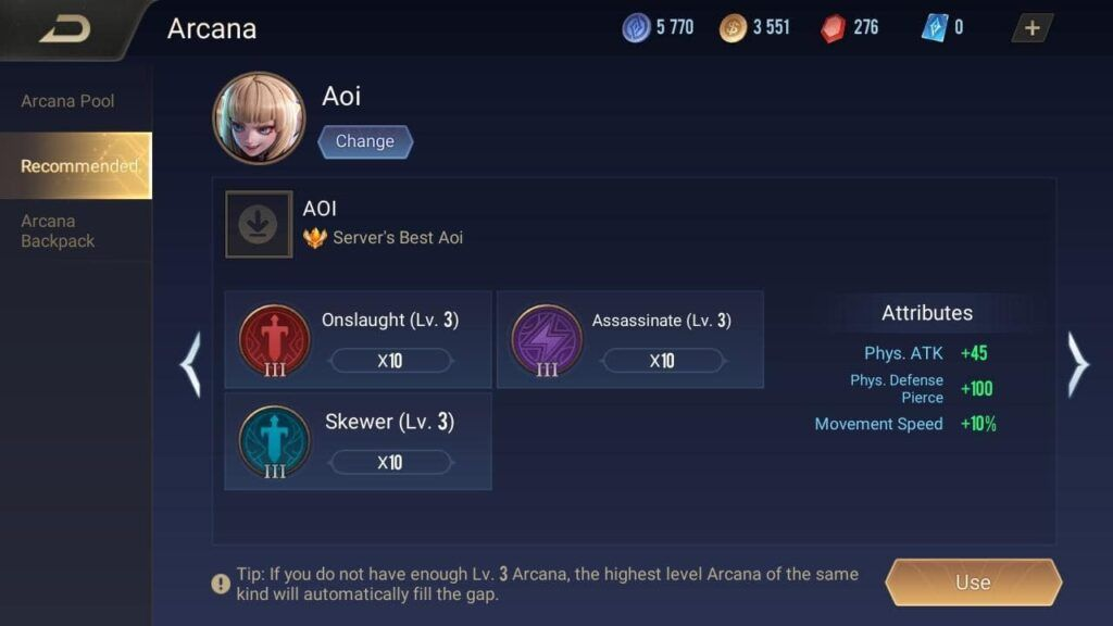Arena of Valor, Aoi, Arcana