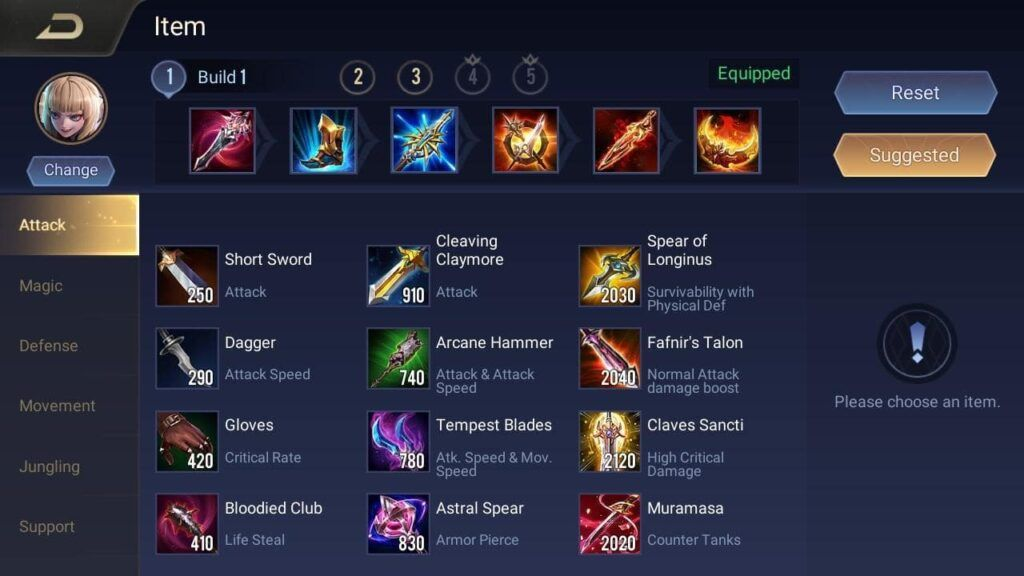 Arena of Valor, Aoi, Equipment