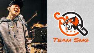 JJ Lin in studio recording and Team SMG logo