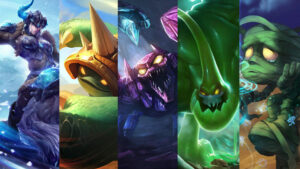 League of Legends champions Sejauni, Rammus, Skarner, Zac, Amumu