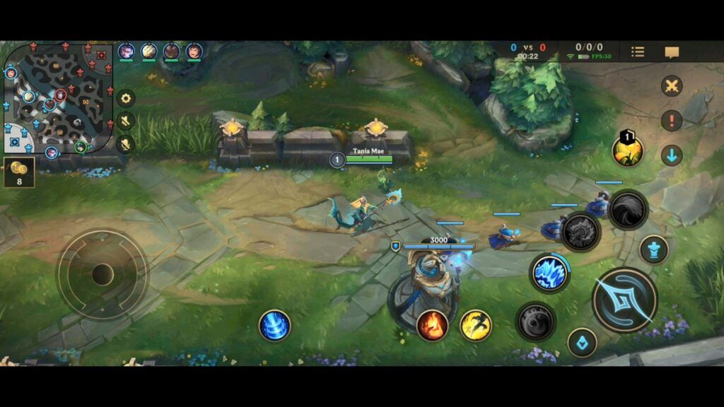 In-game screenshot of blue side turret in Wild Rift